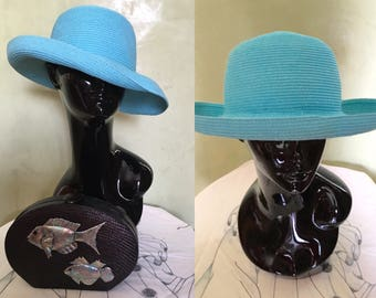 Cappelli Vintage Turquoise Soft Straw Hat