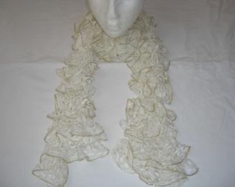 Handmade Knit  Ruffle Scarf appr 4  x 65