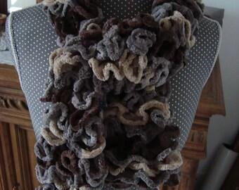Round scarf wool chenille/velvet Brown Beige gray ruffle