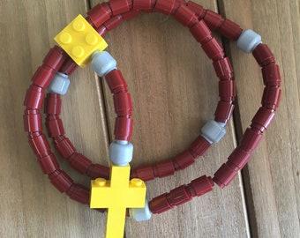 Rosary made of Lego Bricks - Maroon, Light Gray & Yellow Catholic Rosary