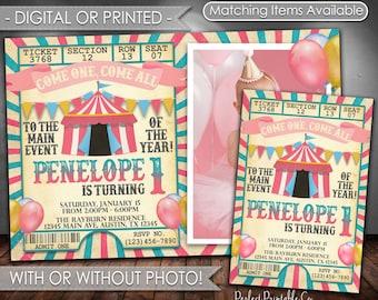 Carnival Invitation, Carnival Birthday Invitation, Circus Invitation, Circus Birthday Invitation, Circus Party, Carnival Party, Girl #552
