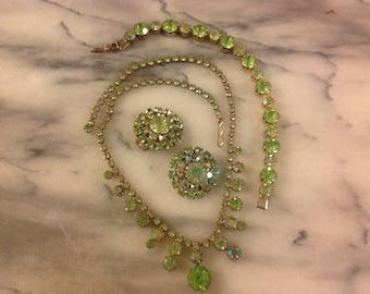Vibrant Vintage Green Rhinestone Set Necklacr, Earrings and Bracelet