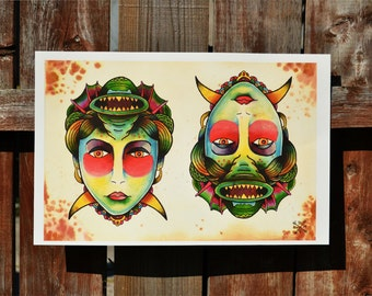 Monster Girl Traditional Tattoo Print