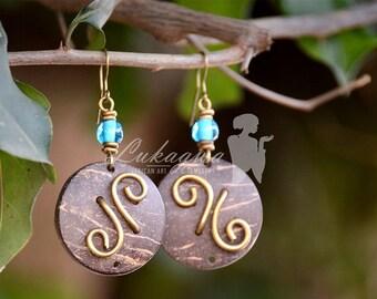 African Coconut shell Drop Earrings.Brown Ethnic Drop Earrings,