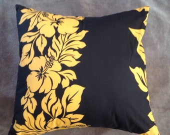 Hibiscus print throw pillow cover