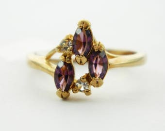 Vintage Amethyst Marquise Trio Ring - Size 6 Ring - VPE221