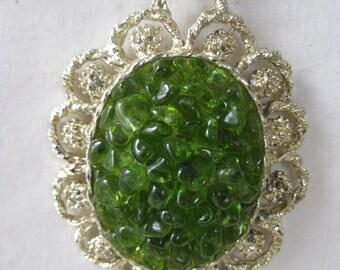 Green Olivine Glass Cluster Filigree Necklace Gold Pendant Vintage