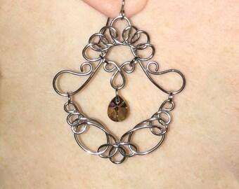 Handmade Wire Earrings, Celtic Knot Earrings, Wire Chandelier Earrings, Elegant Silver Earrings, Teardrop Pendant Earrings