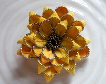 Yellow Recycled Upcycled Vintage Zipper Flower Pin Brooch Hair Clip