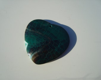 Dragon Vein Agate Heart Pendant