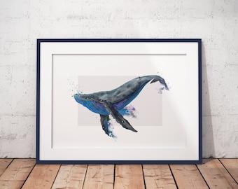 Whale digital art print / Blue Wall Art /