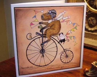 Guinea Pig and Capybara art greetings card  Pennyfarthing bicycle all occasions from original painting by English artist Suzanne Le Good