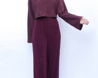 The Reformation Bell Sleeved Crop Top Sweater / Maroon Wine Burgundy / S M L