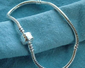 18, 19, 20, 21, and 22 cm - Silver Plated Snake Chain Bracelets For European Beads