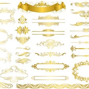 Instant Download Digital Gold Flourish Swirl Frame Border Clip Art Vintage Golden Swirl Frame ClipArt Scrapbooking Wedding Invitation 0326