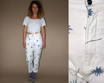 80's vintage women's white high waist flower patterned classic pants/jeans
