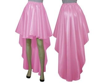 Satin skirt Bridesmaids skirt Pink high low skirt Plus size skirt Prom skirt Wedding skirt XS S M L XL 0XL 1XL 2XL 3XL 4XL 5XL