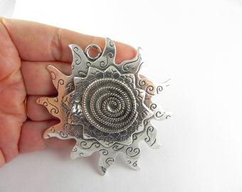 Sun Charm - Large - Focal Pendant - Antiqued Silver - 65mm x 67mm