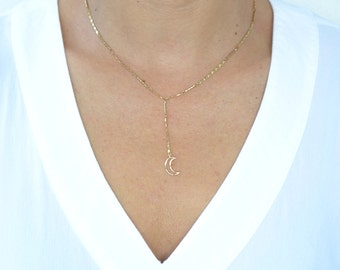 Crescent Lariat Y Boho Necklace - Design chain and moon charm - Boho Jewelry