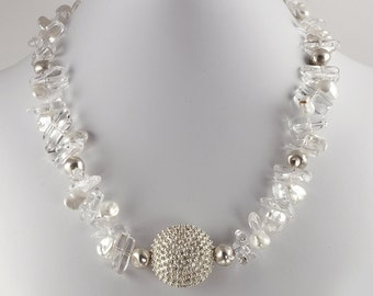 Sterling Silver Sea Urchin, Crystal and Pearl Necklace