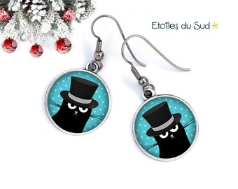 Cat, bowler, cabochon, surgical steel hooks, ref.38 Silver earrings