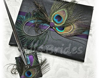 Peacock wedding guest book Purple Plum and Teal wedding, black peacock guest book and pen set.