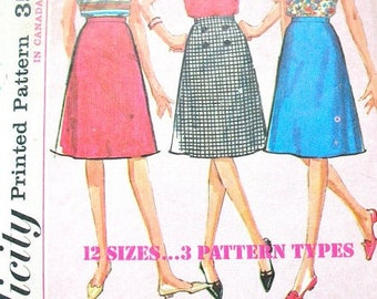 Simplicity 5583 - Size 12 - Easy to Sew Skirt - Below  Knee Length - A Line Skirt