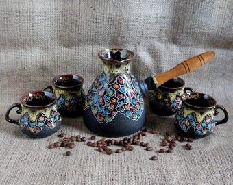 Birthday gift set Mosaic Housewarming gift Ceramic coffee set Turkish coffee pot Gift ideas Wedding present Unusual pottery Couples gift