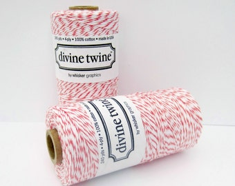 Coral Divine Twine- full spool, 240 yards, coral and white, cotton string, bakers twine