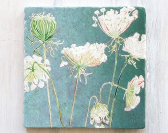 Trivet:  Queen Anne's Lace on Teal