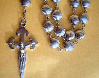 Camino De Santiago St. James Scallop Shell Beads Pilgrim Rosary Necklace