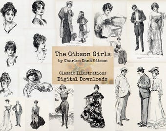 The Gibson Girls - by Charles Dana Gibson, Digital Ephemera Classics, Digital Images, Vintage Art, Digital Art, Instant Download,