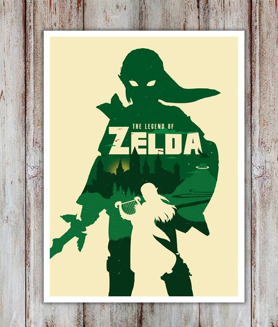 Alternative videogame zelda poster art digital print wall art