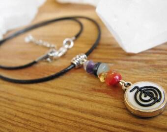 Reiki Symbol Chakra Stone Cord Pendant Necklace