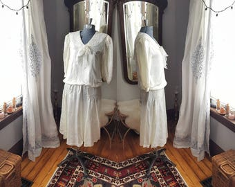 80's does 20's Flapper Ivory Bridal Wedding Shower 1920s 1920's 1980s 80s Vintage Dress Garden Party High Tea Retro