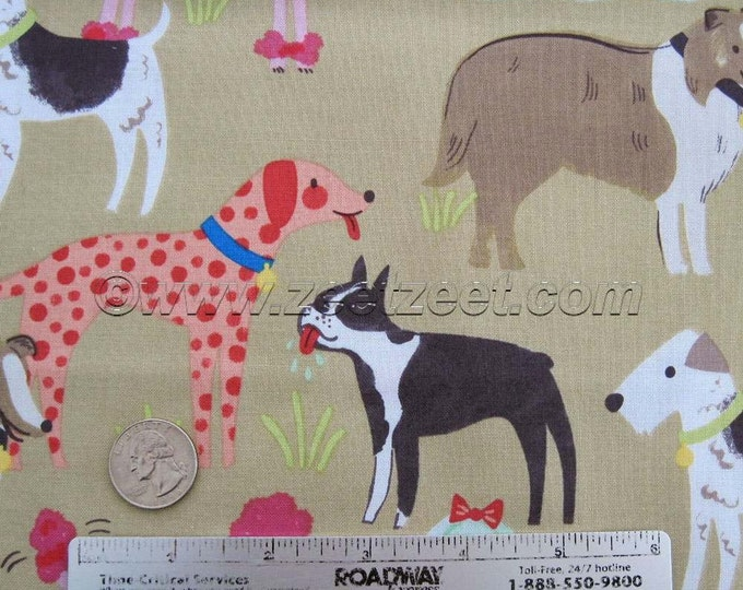 TAN PEDIGREE DOGS Blend Fabrics Best In Show Cotton Quilt Fabric by the Yard, Half Yard, or Fat Quarter Dog Pup Puppy Canine