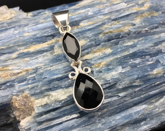 Black Onyx Silver Pendant // 925 Sterling Silver // Faceted Teardrop Marquise Setting