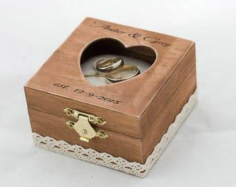 Custom wedding ring box, Engraved ring bearer box, Heart shaped wedding box, Personalized ring box, Ring Pillow, Engagement box, Ring Holder