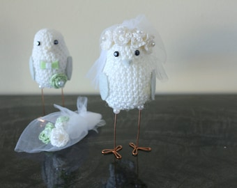 Mint wedding cake topper / Cake decor Mint wedding decor Birds/ Crocheted wedding doves / Green Wedding Cake Topper, Crocheted wedding birds