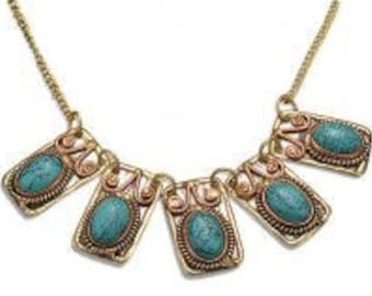Turquoise Necklace, Brass Copper Pendant, Nickel Free, Handmade, Boho Chic