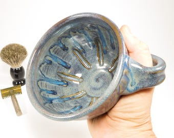 Wet Shave Dish - Pottery Shaving Mug for Left-Handed Shavers - Wetshave Dish - Wetshave Mug - Shave Mug - Clay Shaving Dish - In Stock