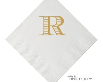 Letter R Monogrammed Initial Napkin Beverage Napkin 25 Styles Available - Foil - Personalized Napkin - Wedding Napkin - Monogrammed Napkin