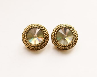 Gorgeous Clear Swarovski Crystal Rivoli Earrings // 80's Vintage Round Clip On Earrings // Made in England