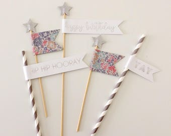 Silver & Floral Birthday Cake Toppers