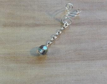 Translucent Purple ear cuff Dangle w/ Silver Chain