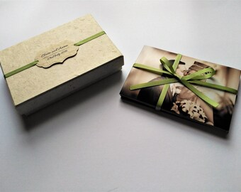 Photo Box, Personalised 6 x 4 Photo Box, Wedding Photo Box, Lokta Paper, Ribbon.