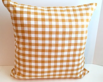16 x 16 Gold Check Linen Envelope Style Pillow Cover