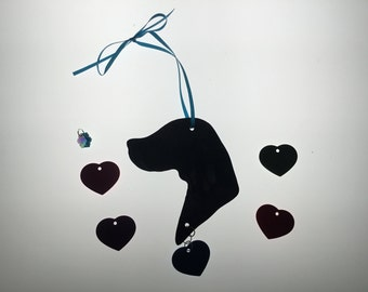 Weimaraner Silhouette Ornament in Stained Glass