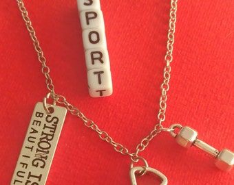 """""""STRONG IS BEAUTIFUL"""", dumbbell, kettlebell necklace"""
