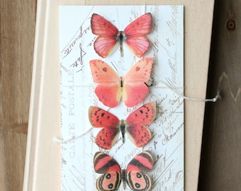 collection no. 35 . 4 red silk butterflies . hair clips, pins, magnets . realistic gifts for birthday, wedding, party favors, bridesmaids